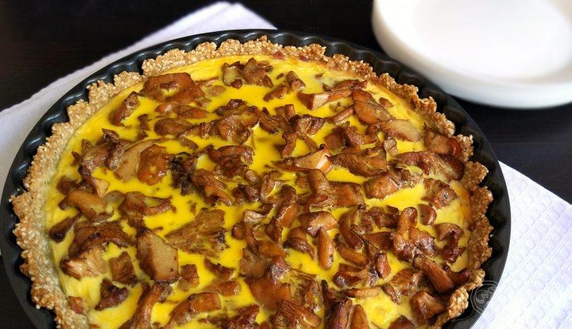 Tartă cu gălbiori și bacon