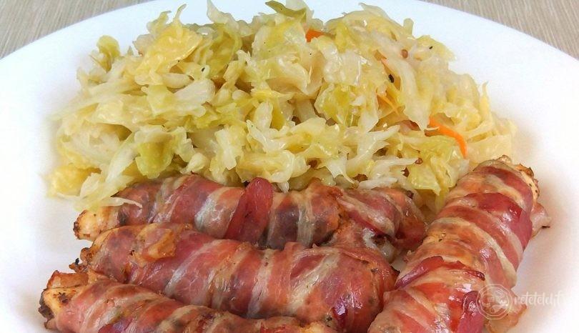 Piept de pui învelit în bacon