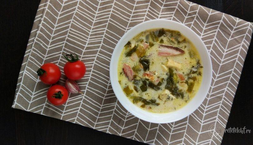 Ciorbă de salată verde cu afumătură