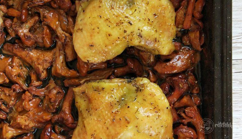Pulpe de pui cu ciuperci la cuptor